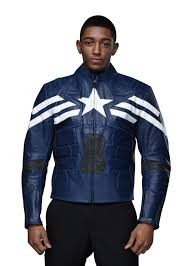 front view of navy and white captain america leather jacket by xtiroyal for men