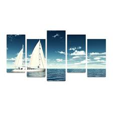boat wall art canvas picture print white sail boat on peace ocean painting on canvas wall