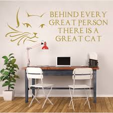 cat wall decals cat lover gifts cat face with whiskers behind every great