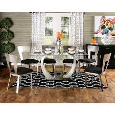 kitchen dining room sets furniture of america sculpture ii contemporary 7 piece dining set silver