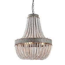 newrays wood bead chandelier pendant three lights gray white finishing retro vintage antique rustic kitchen ceiling