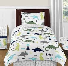 blue and green mod dinosaur 4pc twin boy or girl bedding set by sweet jojo designs only 99 99