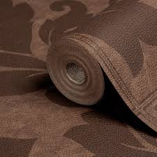 Wall Fashion Impala Brown Leather Effect Damask Leather Effect Wallpaper |  Departments | DIY at B&Q