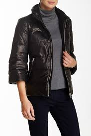 image of june bell sleeve puffy genuine leather jacket