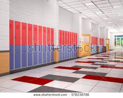 hallway at school. lockers in the high school hallway 3d illustration at