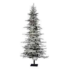 Shop Vickerman 7ft 6in 1075Tip PreLit Georgian Fir Slim Slim Flocked Christmas Trees Artificial