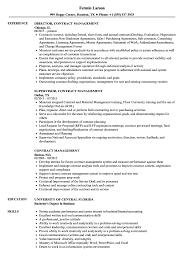 Contract Management Resume Samples Velvet Jobs