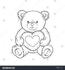 Teddy Bear Toy Heart Coloring Book Stock Vector Royalty Free
