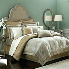 western style bedroom decor with cal king comforter set blue beige tan color black and brown navy and beige bedding