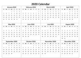 One Sheet Calendar 2020 2020 Printable 12 Month One Page Calendar Template Pdf Word