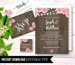 Wedding Invitation Set Templates Rustic Wedding Invitation Template Instant Download Wood Floral