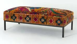 rug covered ottoman benches ottomans room round and covered two ideas decorative for living ottoman stools