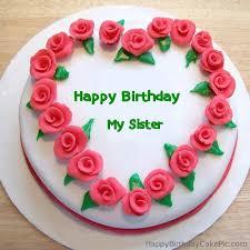 roses heart birthday cake for my sister