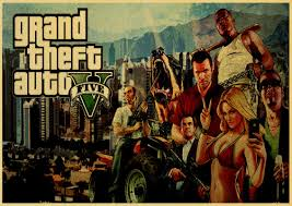 <b>Game GTA5</b> Grand Theft Auto V <b>Vintage</b> Paper Poster Wall Painting ...