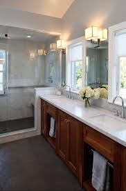 traditional bathroom elegant bathroom photo in san francisco with an undermount sink shaker cabinets medium tone ample shower lighting