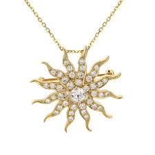 14k yellow gold sun burst diamond pin