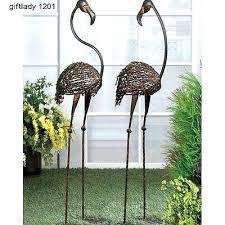 flamingo outdoor decorations impressive on iron garden decor cast art metal pair duo stakes outd