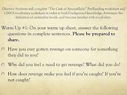 "The Cask of Amontillado"" and Characterization Lesson One Ms. Dymek ..."