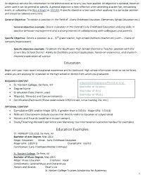Teacher Resume Objectives Dance Teacher Resume Objective Examples Early Childhood Education