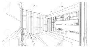 Interior Design Of Modern Style Bedroom, 3D Wire Frame Sketch, Perspective  Stock Photo