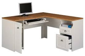 fafairview antique white l shaped computer desk magnifier