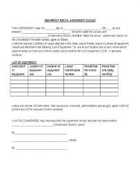 Equipment Lease Form Lease Agreement Sample Of Equipment Agreement ...