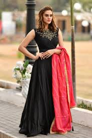 Designer Gown In Black Colour Designer Wedding Wear Anarkali Gown In Black Color