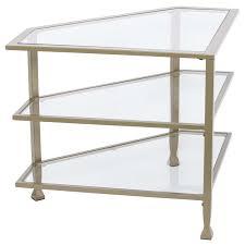 southern enterprises jaymes glass top metal corner tv stand in khaki