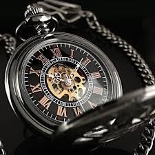 25 best ideas about mechanical pocket watch pocket classic black skeleton windup mechanical antique chain man men mens pocket watch