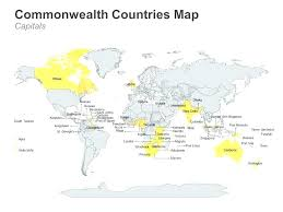 Maps World Map Of Capitals Commonwealth Countries With Editable