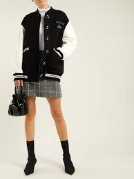 miu miu leather sleeve wool baseball jacket