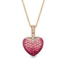le vian passion ruby strawberry sapphires and vanilla sapphires ombré heart pendant in 14k strawberry gold