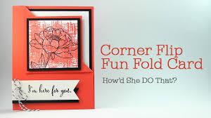 fold card easy corner flip fun fold card by dawn o youtube