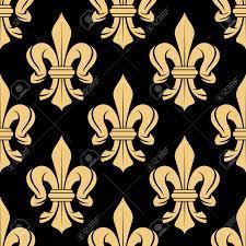 Zwart En Beige Koninklijke Naadloze Patroon Met Fleur De Lis Bloemen