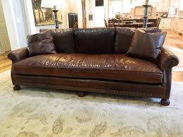 ralph lauren sofa. American Ralph Lauren Leather Sofa With Nail Head Treatment, 20th Century For Sale