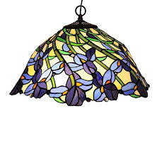 chloe lighting iris 19 in bronze tiffany style single stained glass dome pendant