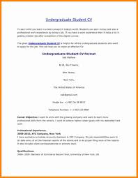 Undergraduate Student Cv Template Resume Download Sample Doc Stock