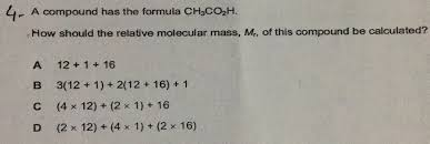 ch3co2h a compound has the formula ch3co2h r how should the relative
