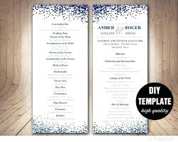 modern wedding program blue double sided confetti marriage template microsoft word