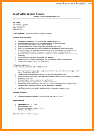 Labourer Resume Examples Ideas Sample Construction Worker Resume