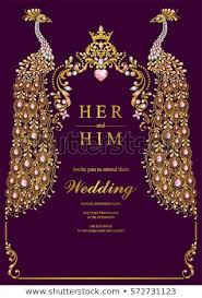 indian wedding invitation card templates with gold pea patterned and crystals on paper color