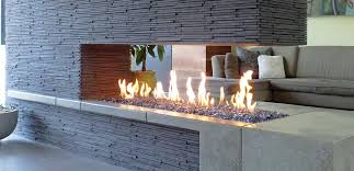gorgeous home interior decoration using corner glass modern long gas fireplace including l shape grey fabric living room sofa and grey stone veneer