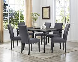 brayden studio raquel wood rectangle 7 piece dining set with fabric nailhead chairs upholstery color gray find this pin and more on dining room