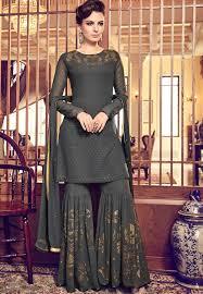 Designer Sharara Suits Dark Grey Georgette Designer Sharara Pakistani Suit 6011