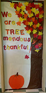 Thankfulness tree classroom door. I cut out extra leaves so that the  students can write what they are thankful for and add them to the door! We  are
