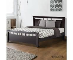 Black wood bed frame King Size Evopia Artiss Wooden Bed Frame Dark Cherry Queen