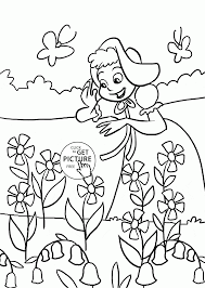 Happy Girl And Spring Flowers Coloring Page For Kids Seasons