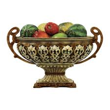 Gold Decorative Bowl Sheaffer 19 In X 11 In Faux Alabaster And Casper Gold Finish