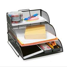 Mind Reader Metal Mesh 3 Tier Different Sized Paper Trays Desk Organizer Letter Tray Document Paper File Black