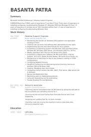 Desktop Support Engineer Resume samples. Work Experience
